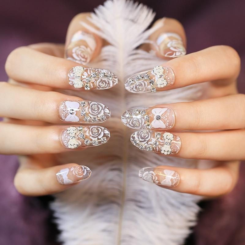clear 3d bowknot acrylic fake nails