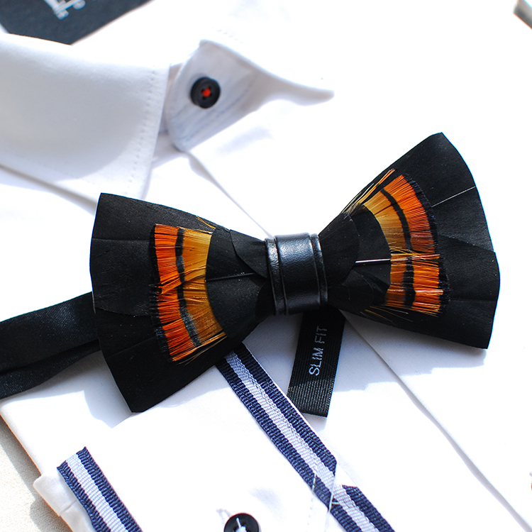 2018 men women fashion handmade feather black bow tie wedding party neck ties pajarita hombre erkek papyonnoeud papillon homme