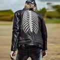 2017 Hombres Negro Genuino Cuero de La Motocicleta Chaqueta de Cuello alto Patrón de Espina de Pescado Rea Zurriago Slim Fit Abrigo Biker ENVÍO GRATIS