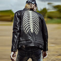 2017 Men Black Genuine Leather Motorcycle Jacket Stand Collar Fish Bone Pattern Rea Cowhide Slim Fit Biker Coat FREE SHIPPING