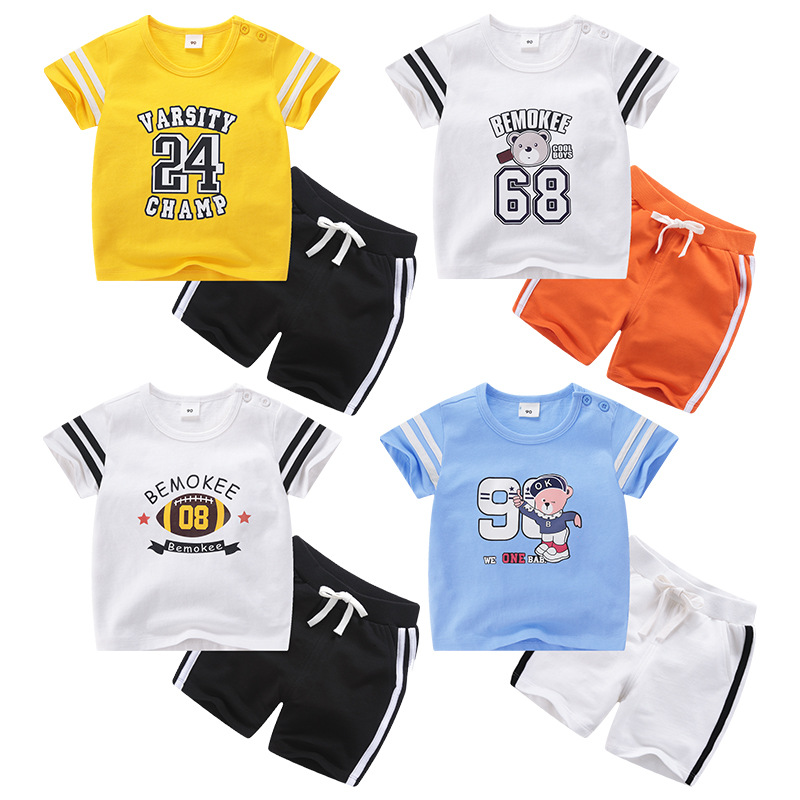 2018 childrens short-sleeved sports suit cotton cartoon summer casual childrens clothing