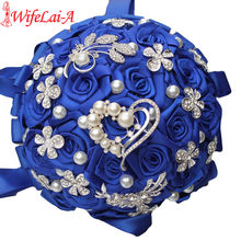 WifeLai-UN 1 Pezzo Di Lusso di Cristallo di Cerimonia Nuziale Bouquet Durevole In Possesso di Fiori Artificiali Diamante Spilla di Perle Bouquet Da Sposa W125(China)