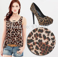 Hot!! Summer Women's Slim Popular Hot Cotton Patchwork Leopard Vest Tops Tank S M L