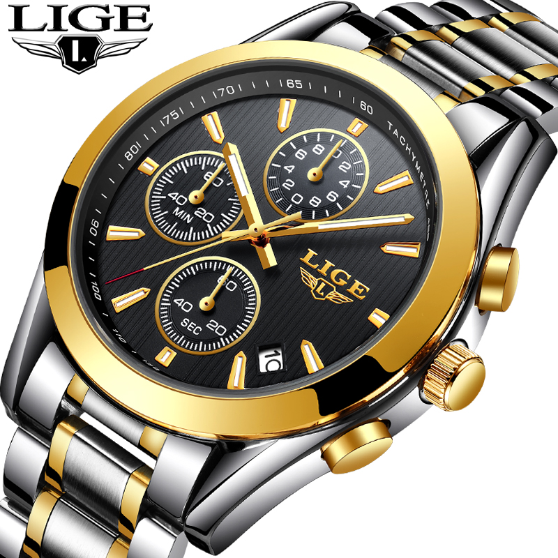 LIGE Men Watches Top Brand Luxury Business Full Steel Quartz Gold Watch Men Casual Waterproof Sport WristWatch Relogio Masculino цена