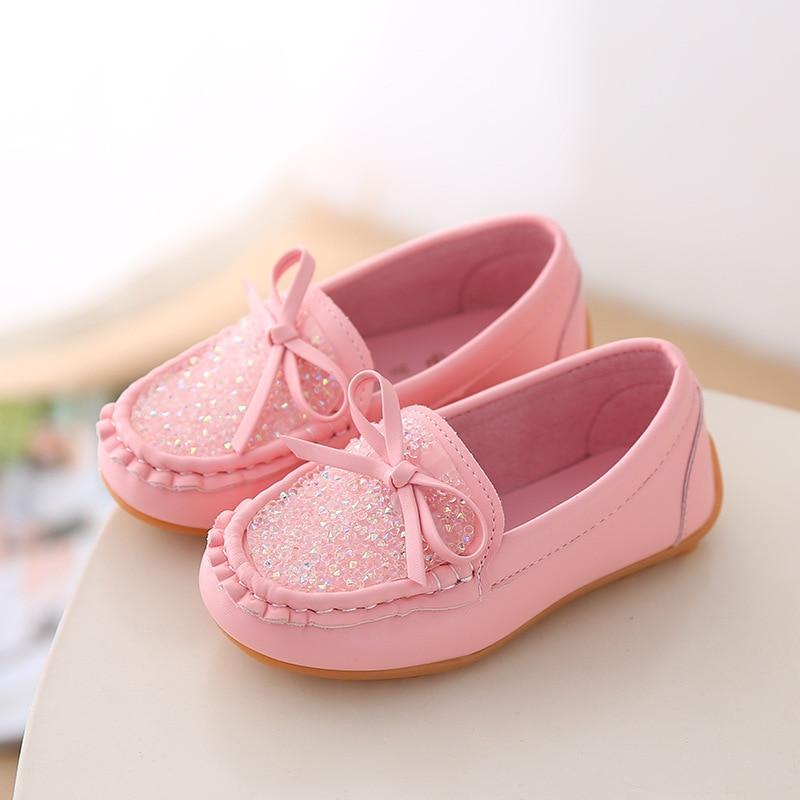Haute qualité Bling Crystal fille chaussures plates enfants mode bowknot princesse chaussures enfants filles chaussures décontractées jaune blanc rose