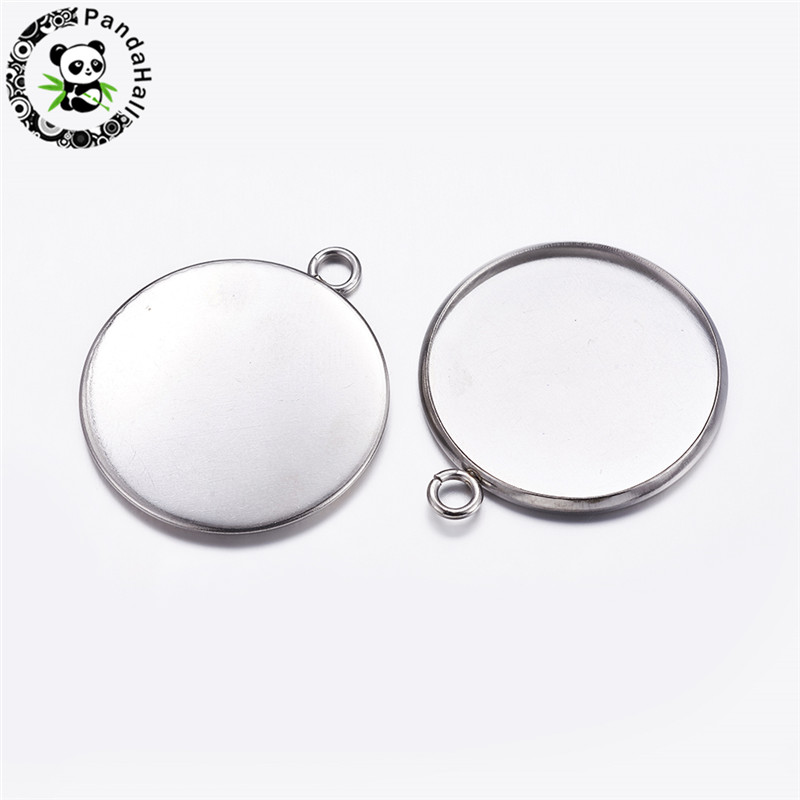 Jewelry Findings & Components Cheap Price Pandahall 10pcs 20mm Stainless Steel Metal Jewelry Findings Pendant Cabochon Settings Flat Round