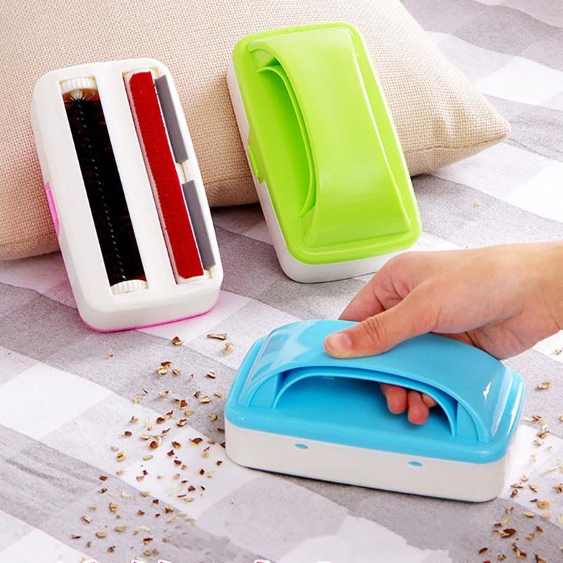Handheld Home Carpet Cleaner Brush Dual Roller Sofa Table Crumb Dirt Tools