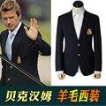 M-XXXL! Beckham qualidade azul moda ocasional terno masculino primavera dos homens outerwear de lã fina única marca plus size roupas casaco