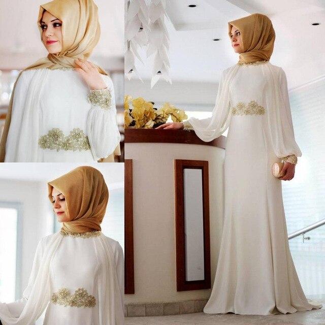 White Long Sleeve Muslim Evening Dresses 2017 Black Hijab Islamic Abaya Kaftan High Neck Apppliques Evening Gown Prom Dresses
