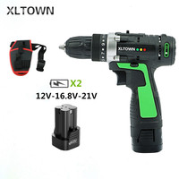 XLTOWN New 12/16.8/21V Cordless Drill Rechargeable Lithium Battery Electric Screwdriver Multi function Hand Drill Power Tools