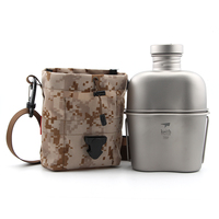 Keith Ti3060 Titanium Army Military Water Bottle Cup Pot Canteen Mess Kit set 268g 1.1L+0.7L w/ Camo Bag