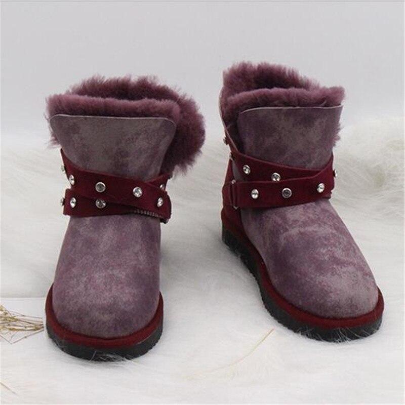 grwg Natural Wool Sheepskin 2018 New Arrival Women Boots Women's Real Fur Genuine Sheepskin Leather Snow Boots Women Shoes цена