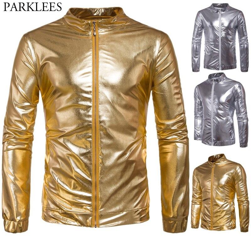 b800b43e5 Cheap Noche de los Hombres Club Hipster metálico brillante Slim Zip chaqueta  Hip Hop oro plata