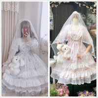 French Style Retro Sky's Flower wedding OP Dress Sweet Lolita Fairy Multilayer Lace Ruffles Short Sleeve Princess Fancy Dress