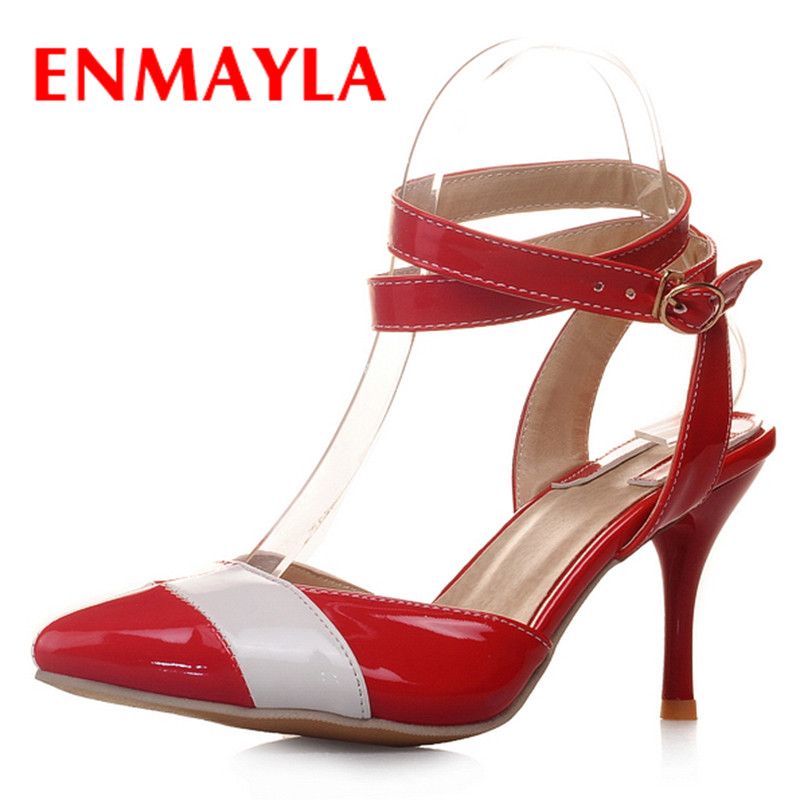 ФОТО ENMAYLA Fashion Ankle Strap Shoes Woman High Heels Pointed Toe Plus Size 33-46 Sexy Red Party Shoes Summer Pumps Sandals