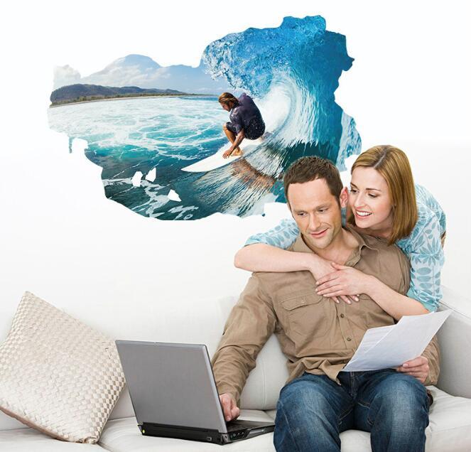 * 3D морской прибой Экстремальные виды спорта серфинг стены наклейки домашнего декора гостиной спальня для детской комнаты детская мальчико... ...