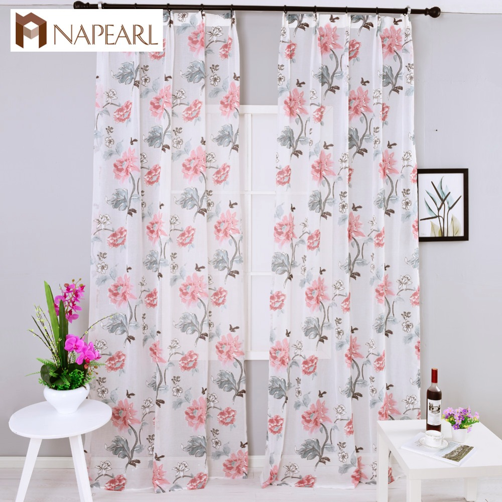 Semi Sheer Curtains For Kitchen Curtain Linen Textured: Modern Curtains Semi Sheer Fabrics Burnout Floral Design