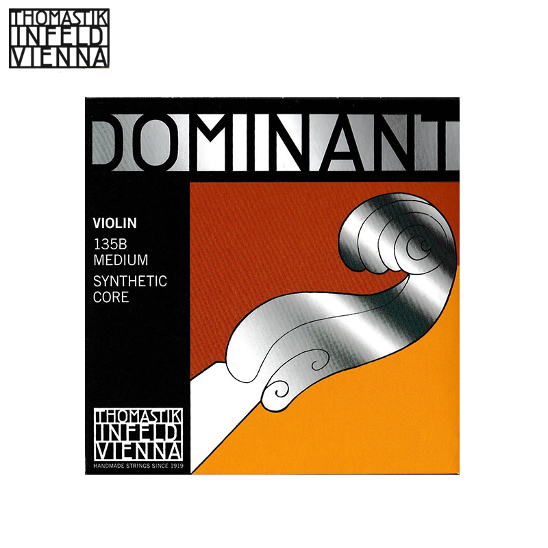 Thomastik-Infeld 135/135B Dominant Violin Strings, Complete Set, 135/135B, 4/4 Size, With Chrome Steel Ball End E String thomastik infeld ib100 blue violin strings complete set ib100 4 4 size synthetic core