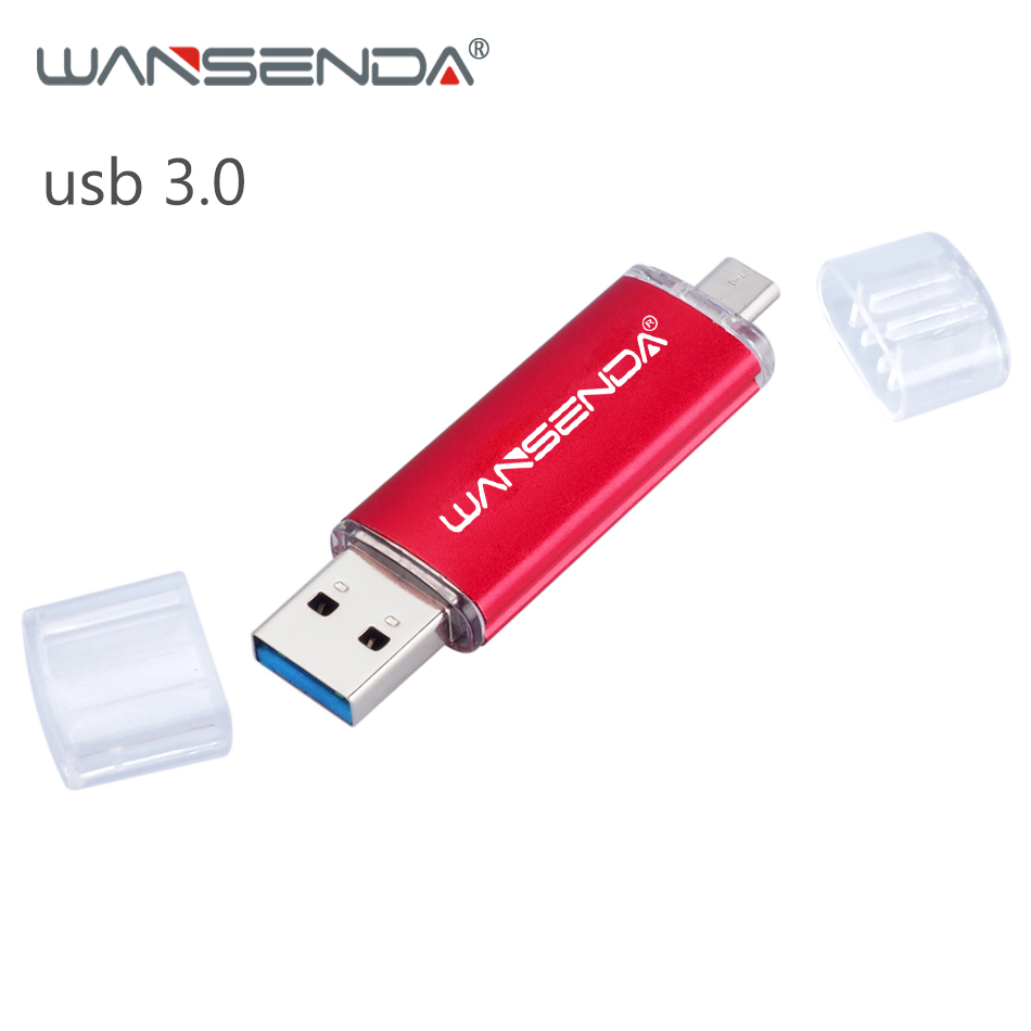 WANSENDA USB Flash Drive USB 3.0 OTG Pen Drive 16GB 32GB 64GB 128GB 256GB Smartphone 2 In 1 Micro USB Stick 3.0 Pendrive