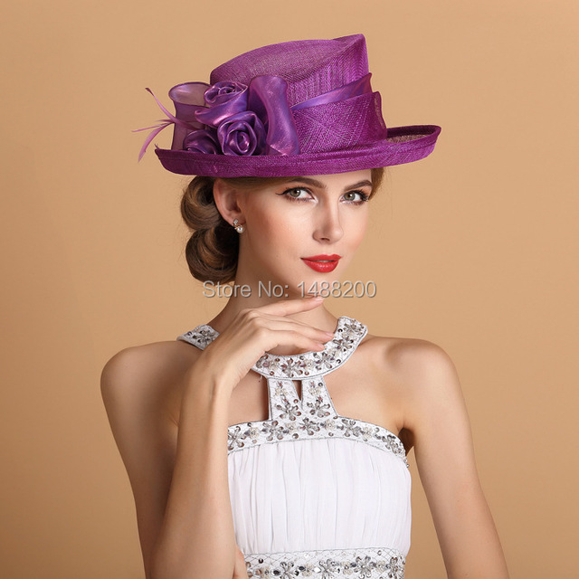 2016 new elegant ivory purple linen and feather bride hats sombrero