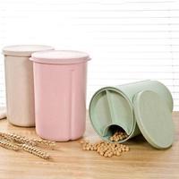 Wheat Straw Food Storage Box Sealed Crisper Grains Tank Preservation Box Sorting Food Beans Tank Fridge Refrigerator Organizer