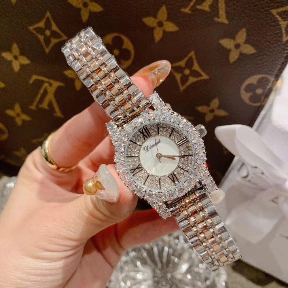 2 tailles classique numéro romain femmes affaires montres de luxe strass Bracelet montre Quartz Shell visage analogique diamant montre-Bracelet 5