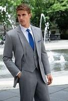 Tailor Made Grey Wedding Suits for Men Blazer Custom Designers Groomsmen Tuxedo Formal Groom Summer Slim Fit Suits Prom 3 Pieces