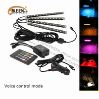 OKEEN Car Styling 4x 12 LED RGB Car Interior Atmosphere Neon Strip Light Wireless Remote Control