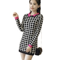 2017 New Silm Knitted Dress Women Autumn Long Sleeve Hip Package Knit Vestidos Spliced Ladies Elegant