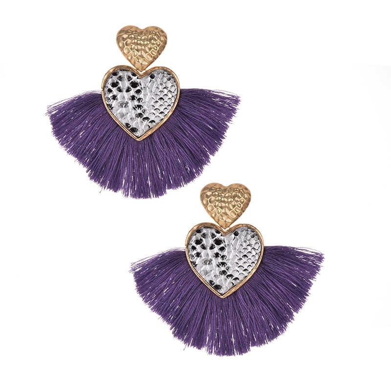 Pendientes largos de borla Vintage hechos a mano hipérbole para mujer, diseño de serpiente grande étnica, pendientes de corazón de color caqui, joyería de moda