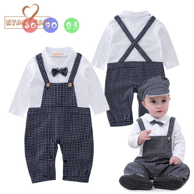 Nyan Cat Baby boy suits gentleman clothes plaid Jumpsuit+Hat Infant toddler Boys costume party wedidng Outfits Baby Clothing