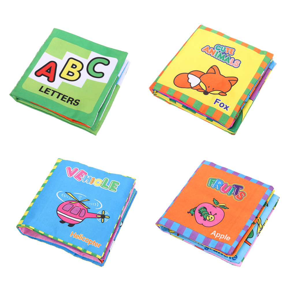 Baby Toys Large Soft Cloth Books BB Sound Infant Early Learning Educational Stroller Rattle Toy Newborn