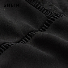 SHEIN Elegant Tie Neck Bow Eyelet Mesh Top Black Stand Collar Cap Sleeve Women Plain Blouse 2018 Spring Casual Sheer Blouse