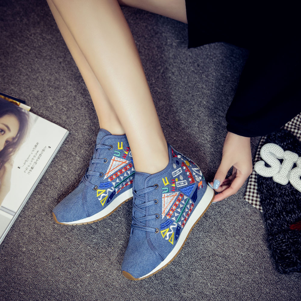 Chinese Style Women Autumn Winter Fashion Casual Lace Up Embroidery Vulcanize Shoes Female Plus Size Cloth Fabric Shoes Smink 7