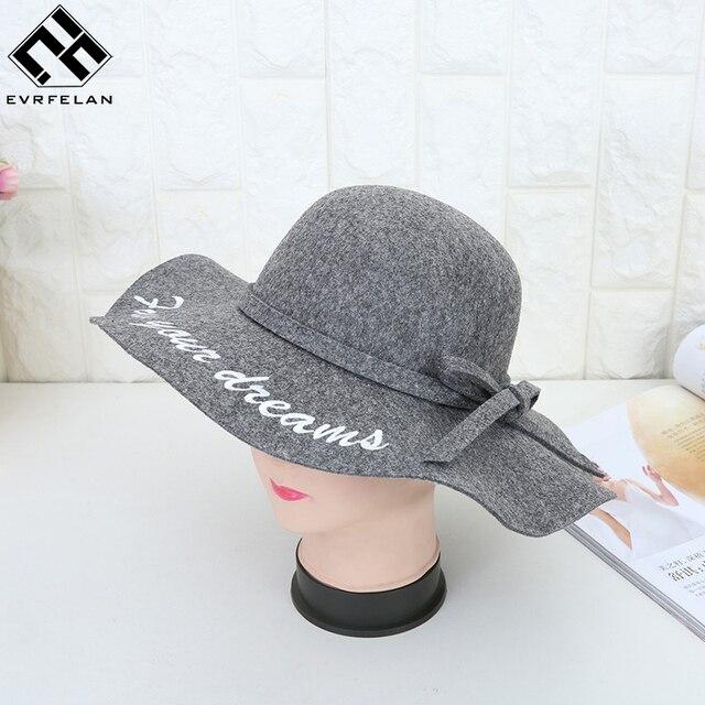 3db859f34a0076 New Design Fedoras Felt Hats Women Autumn Winter Cap For Ladies Classic  Pure Color Hat Letter