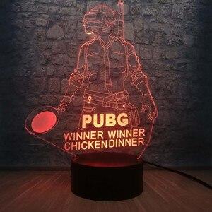 Image 3 - Cool bataille Royale jeu PUBG gagnant 3D veilleuse LED 7 couleur Illusion changeante lampe de bureau pour enfants anniversaire lampe décor à la maison