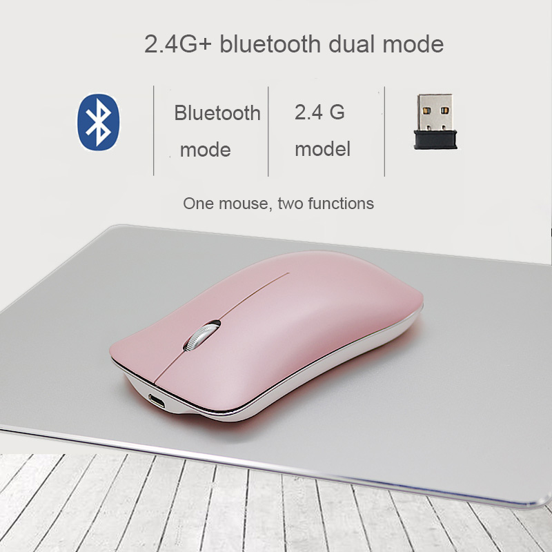 2018 new 1200DPI 2.4G + Bluetooth 4.0 dual mode wireless Rechargeable mute  mouse for OS android and winXP WIN7 WIN8 WIN10 PC Mice     - title=