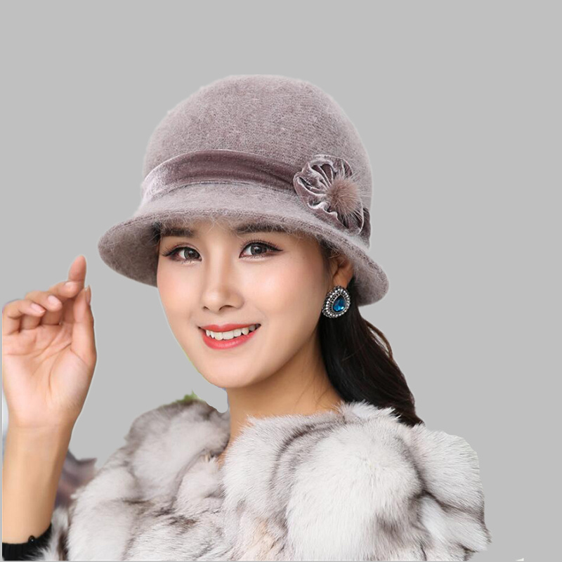 Autumn Winter Fedora Rabbit Fur Hat for Women Fashion Casual Cap Solid Colors Gorros Cap Women's Hats Chapeau Femme Warm hat
