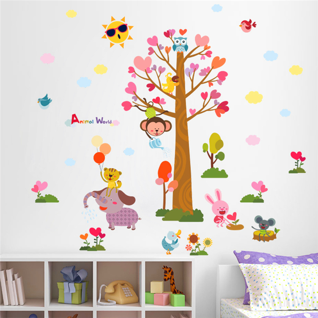 colorful animals world wall stickers kids room decor art diy cartoon