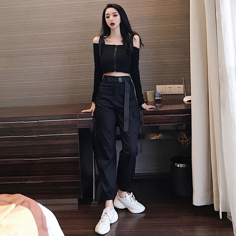 Summer  Women's High Waist Pocket Loose  Cargo Pants + Spaghetti Strap  T-shirt Two-piece Women's Sets Students Harajuku Style