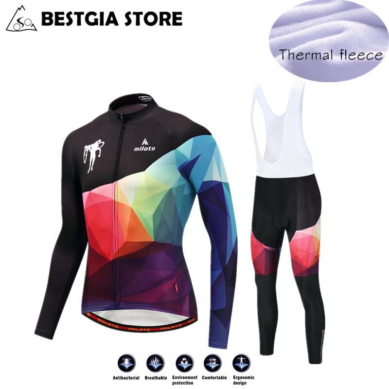 2019 Men Winter Thermal Fleece Cycling Jersey Sets MTB Race Cut Long Sleeve Warm Jersey Bicycle