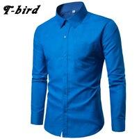 T Bird Brand 2017 Men Shirt 17colors Solid Black Dress Shirt Long Sleeve Slim Fit Camisa