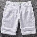 Calções de linho dos homens dos homens de verão de algodão de praia curto dos homens da marca 2016 lazer novo selvagem sólida solto shorts Da Carga dos homens curto dos homens casuais