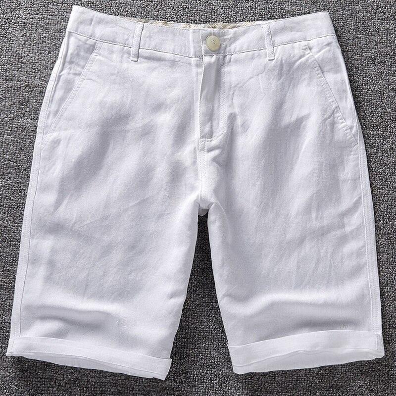 De Los Hombres Pantalones Cortos De Lino De Los Hombres De Algodon De Verano De Playa Corto De La Marca De Los Hombres 2016 Nuevo De Sport Suelto Solido Pantalones Cortos De