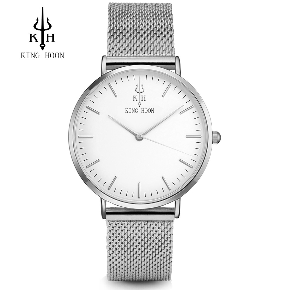 KING HOON New Fashion Watch Women Luxury Stainless Steel Elegant Simple Dial Casual Quartz Wristwatch Ladies Clock Relogio Femin luxury golden mesh wristwatch new fashion analog quartz watch women steel gold casual watch ladies simple dress clock hours