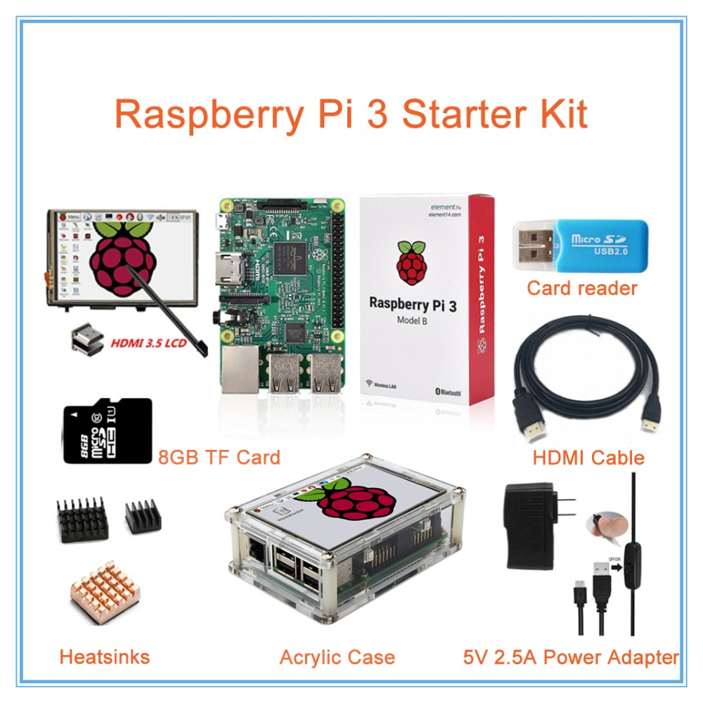 Raspberry Pi 3 Kit 3 5 Inch HDMI LCD Touch Screen Transparent Case 2 5A Power