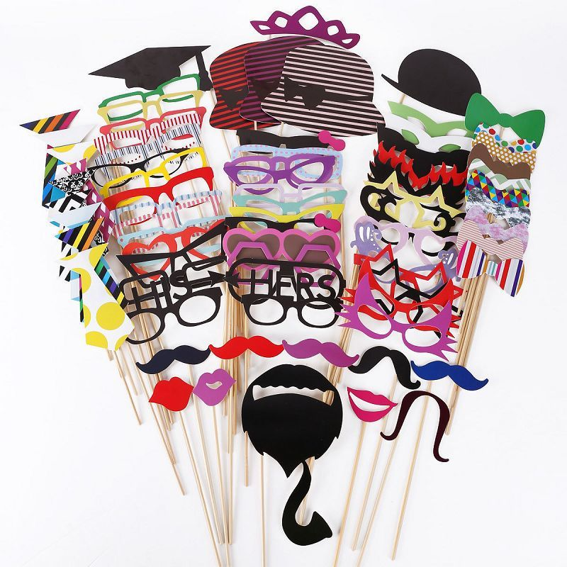 76pcs/Set Photo Booth Props Funny Birthday Party Wedding Props Mask Moustache Photo Booth Stick Photography Party Event Supplies ...