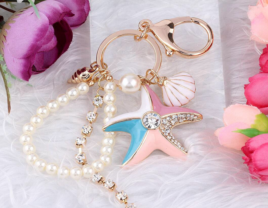 Hot Selling Gold Rhinestone Crystal Charms Enamel Shells Pearl Starfish Keychain Keys Car Bag Key Chain Handbag Couple Key Ring