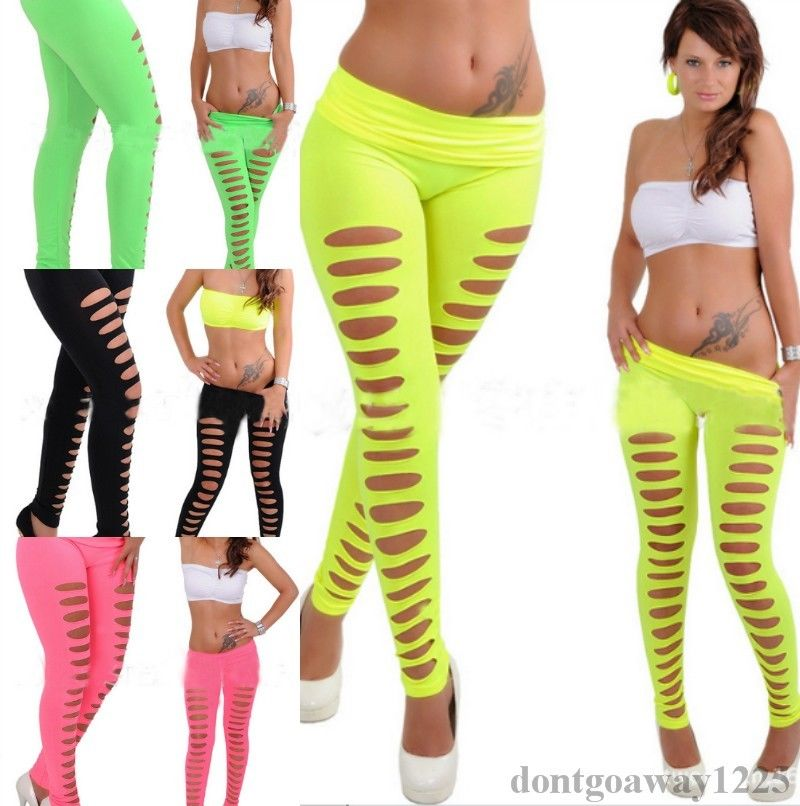 new Summer Women Candy Color   Leggings   Sexy Casual Flared trousers Hollow   Leggings   Ripped Cut-out Bandage Black Women   Leggings