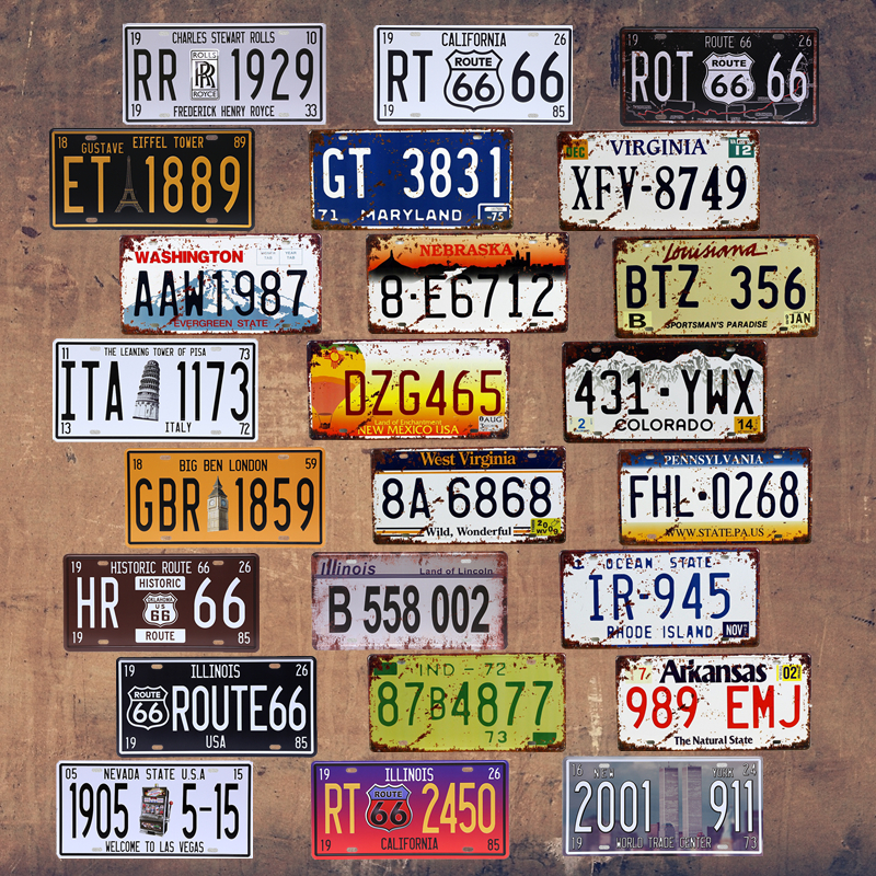 Garage Signs Decor : Vintage car number license plate motorcycle tin signs art
